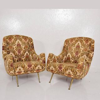 Pair of Sculptural Armchairs Made in Italy in the Style of Gio Ponti