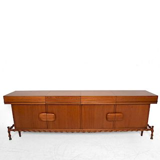 Midcentury Mexican Modernist Floating Bamboo Credenza, Frank Kyle, 1960s