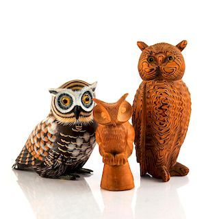 SET OF THREE HANDCARVED WOODEN OWL FIGURES