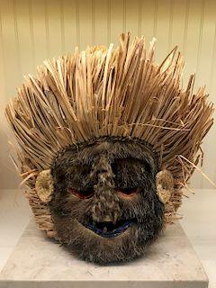 Yaka`Bakumu Mask w/ Fur, Ex Crocker Art Museum