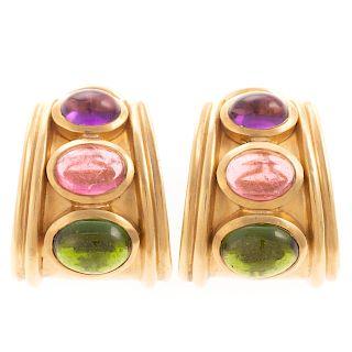 A Pair of Ladies Gemstone Hoops in 18K Gold