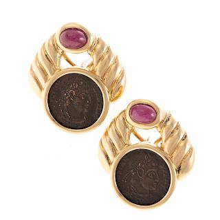 A Pair of Ruby & Roman Coin Earrings in 18K