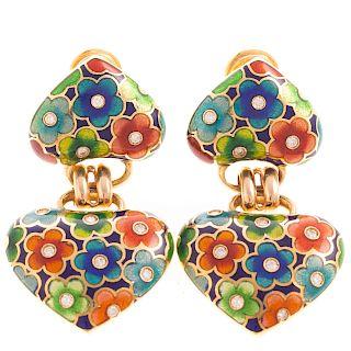 A Pair of Enamel & Diamond Earrings in 18K
