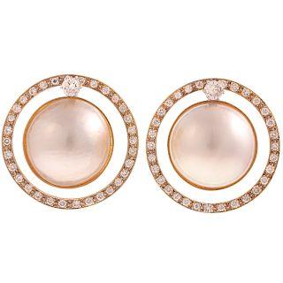A Pair of Diamond & Mabe Pearl Earrings in 14K
