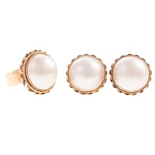 A Pair of Pearl Earrings & Matching Ring in 14K