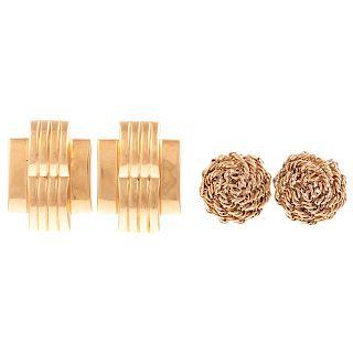 Two Pairs of Ladies 14K Classic Earrings