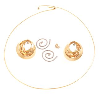 A Ladies 14K Gold Necklace & Earring Jackets