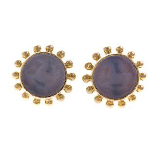 A Pair of Elizabeth Locke Intaglio Earrings in 19K