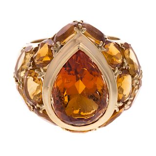 A Ladies Fine Imperial Topaz Ring in 18K Gold