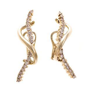 A Pair of Diamond Earrings by Jose Hess in 14K