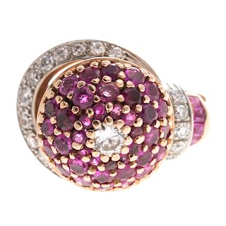 A Retro Ruby & Diamond Dome Ring in 14K Rose Gold