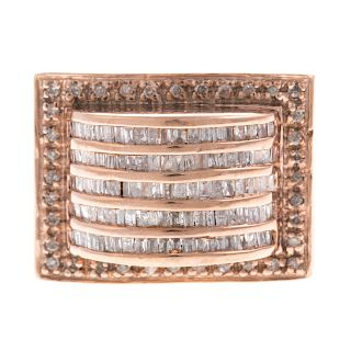 A Ladies Wide Rose Gold Diamond Band