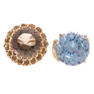 A Pair of Ladies Large Gemstone Rings in 14K