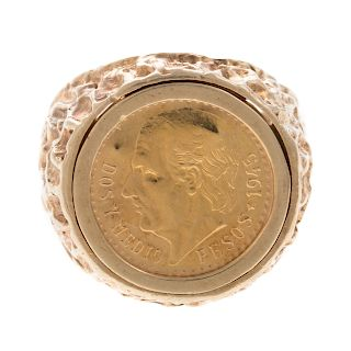 A 1945 $2.50 Mexican Pesos Ring in Gold