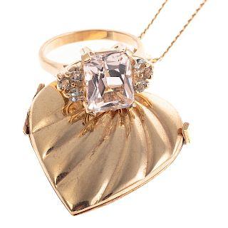 A Ladies Heart Locket & Morganite Ring in 14K Gold