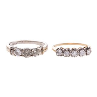 A Pair of Ladies Diamond Bands in Gold