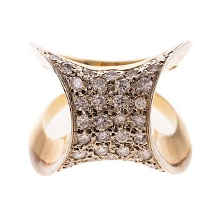 A Ladies Pave Diamond Geometric Ring in 14K