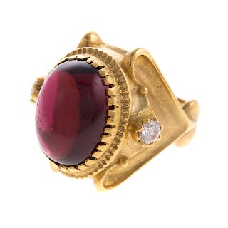 A 18K Garnet & Diamond Ring By SeidenGang
