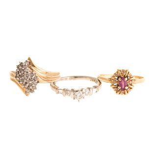 A Trio of Ladies Diamond Rings in Platinum & 14K