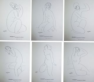After Amedeo Modigliani 6 Eiffel Tower Lithographs
