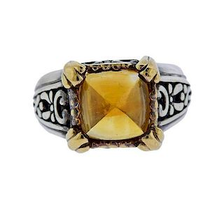 John Hardy 18K Gold Sterling Silver Citrine Ring