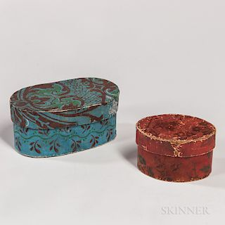 Two Small Oval Wallpaper Boxes