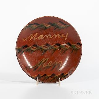 "Slip-decorated ""Nanny Men"" Redware Plate"