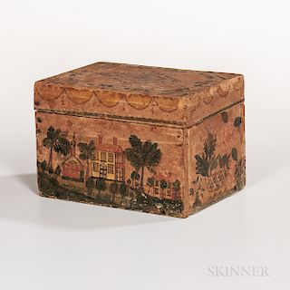 Polychrome Watercolor-decorated Paper-covered Rectangular Box