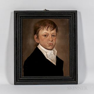 Attributed to William Jennys (Connecticut/New Hampshire, 1774-1859)  Portrait of a Boy