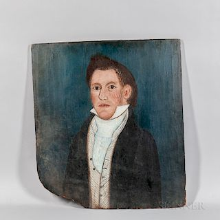American School, Early 19th Century  Portrait of a Man in a Black Coat and Striped Vest