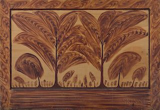 Paint-decorated Pine Paneled Fireboard