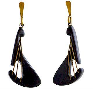Early American Modernist Exotic Wood Brass Lute Earrings