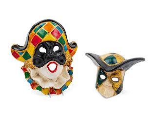 Two Venetian Carnival Masks<br>each in papier mac
