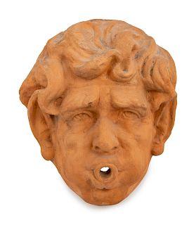 A Terracotta Fountain Mask<br>Height 14 x width 1