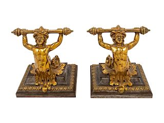 A Pair of Continental Brass Figural Doorstops<br>