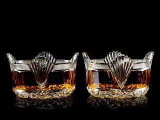 A Pair of English Cut Glass Wine Coasters <br>Wid