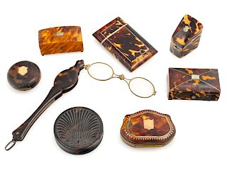 Eight Tortoise Shell Articles<br>19TH CENTURY<br>