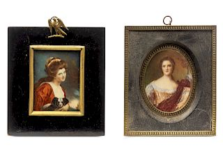 Two Continental Portrait Miniatures <br>LATE 19TH