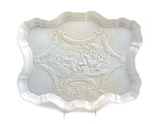 A Capodimonte Porcelain Tray <br>of serpentine ou
