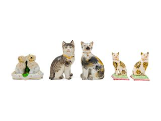 Five Porcelain Animalier Figures<br>four cats and
