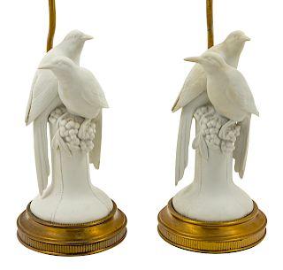 A Pair of Ceramic Bird Figural Groups<br>20TH CEN