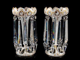 A Pair of White Overlay Cut Glass Girandoles<br>H