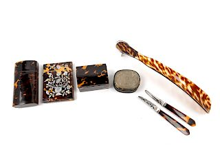 Six Victorian Tortoise Shell Articles<br>Length
