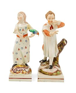 Two Staffordshire Pottery Figures<br>Height 8 inc