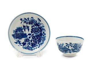 A Worcester Porcelain Cup and Saucer<br>18TH CENT