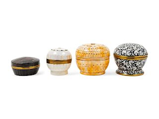 Four Decorative Boxes<br>each of circular form.<b