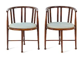 A Pair of Barrel-Back Armchairs<br>LATE 19TH/EARL
