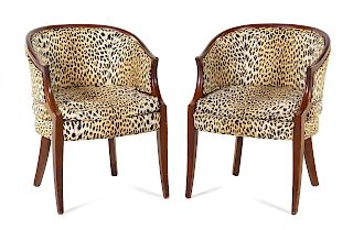 A Pair of Club Chairs <br>20TH CENTURY<br>Height