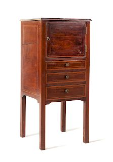 A Georgian Mahogany Commode Cabinet<br>19TH CENTU