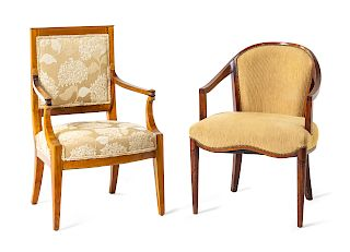A Federal Style Mahogany Armchair and a French <b